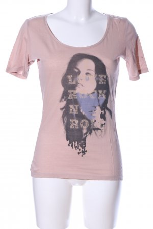 Boss Orange Print-Shirt pink-schwarz Motivdruck Casual-Look