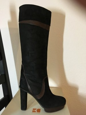 Boss Orange Heel Boots dark brown-black suede