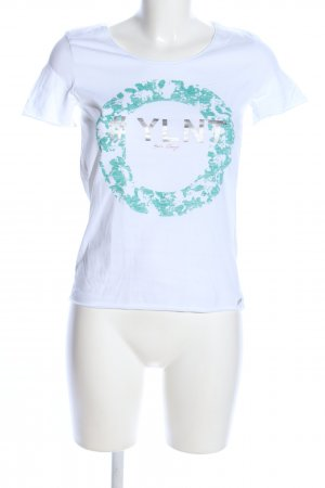 Boss Orange T-Shirt white-turquoise themed print casual look