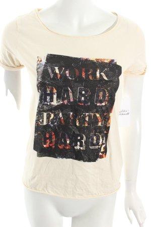 Boss Orange T-Shirt creme Motivdruck Street-Fashion-Look