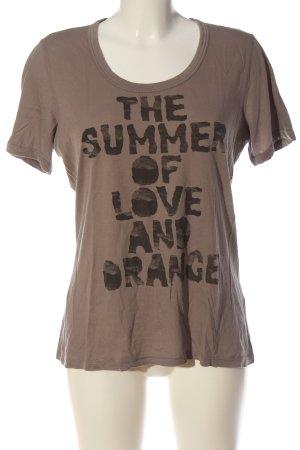 Boss Orange T-shirt brązowy Wydrukowane logo W stylu casual