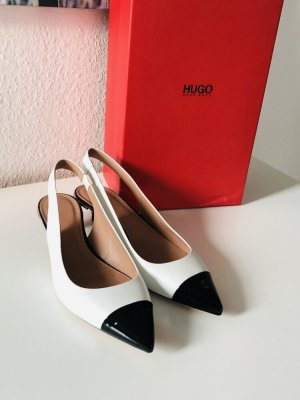 Hugo Boss Slingback Pumps white-black leather