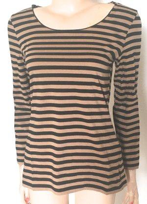 Hugo Boss T-shirt rayé noir-beige coton