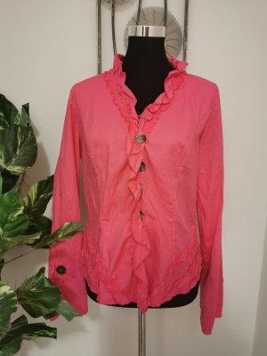 Bottega Damen Designer Bluse Volant Hemdbluse pink Größe L wie NEU