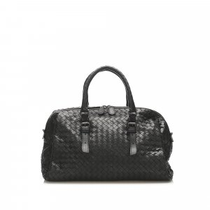 Bottega Veneta Intrecciato Leather Boston Bag