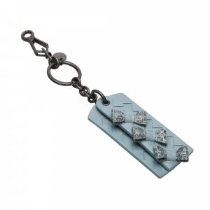 Bottega Veneta Key Case light blue leather