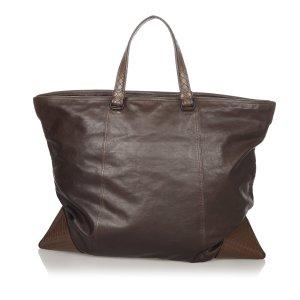 Bottega Veneta Sac de voyage brun foncé cuir