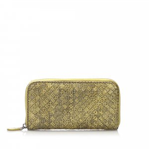Bottega Veneta Intrecciato Snake Skin Leather Zip Around Wallet