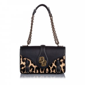 Bottega Veneta Leopard Print Pony Hair City Knot Shoulder Bag