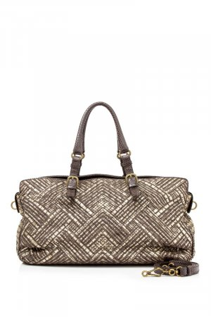 Bottega Veneta Lizard Trim Intrecciato Leather Satchel