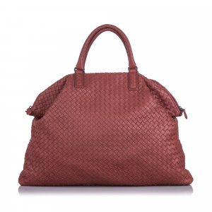 Bottega Veneta Travel Bag red leather