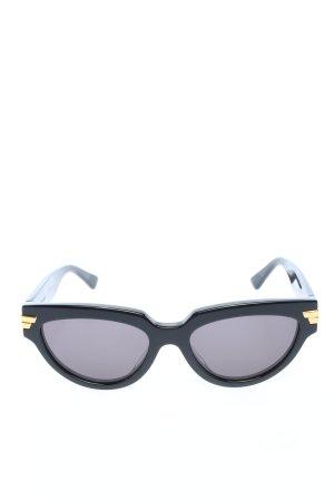 Bottega Veneta Lunettes de soleil ovales noir-doré style décontracté