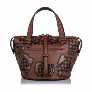 Bottega Veneta Paisley Checker Tambura Leather Satchel