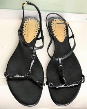Bottega Veneta Romeinse sandalen zwart-goud Leer