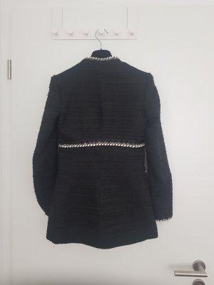 Zara Blazer lungo nero-bianco Tessuto misto