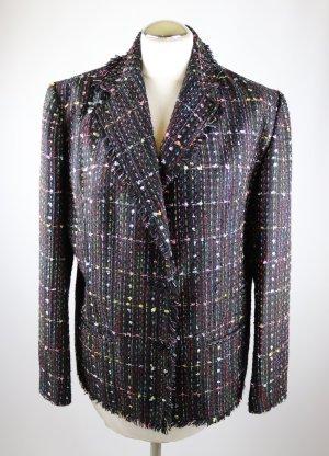 Boucle Blazer Tweed Borgelt Größe L 42 Schwarz Bunt Konfetti Fransen Rot Grün Rosa Gelb Jacke