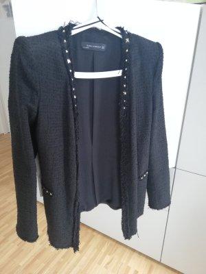 Zara Woman Veste de smoking noir-argenté