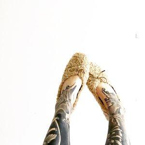 Anthropologie Mary Jane Ballerinas beige
