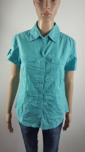 Boule Damen Kurzarm Hemd Bluse hellblau mit Druckknöpfen Größe 40