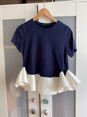 Drole de copine Top con balze bianco-blu scuro