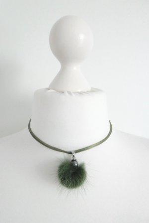 Boutique Collier vert forêt-argenté soie