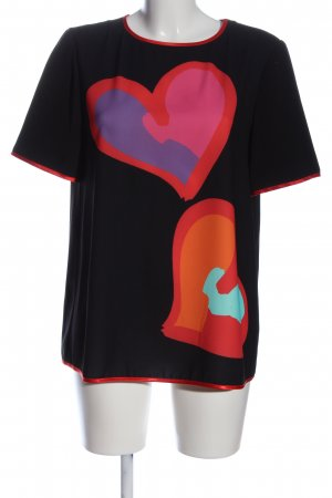 Boutique Moschino Short Sleeved Blouse black-red themed print casual look