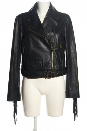 Boutique Moschino Lederjacke schwarz Casual-Look