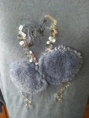 Boutique Shirt Flamingos Voegel Blau L