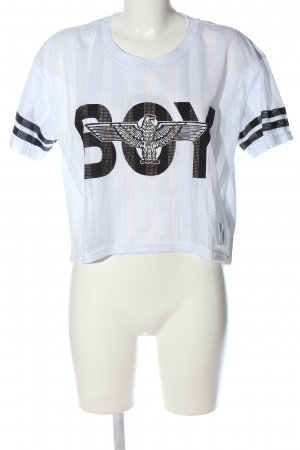 BOY Cropped Shirt white-black themed print casual look