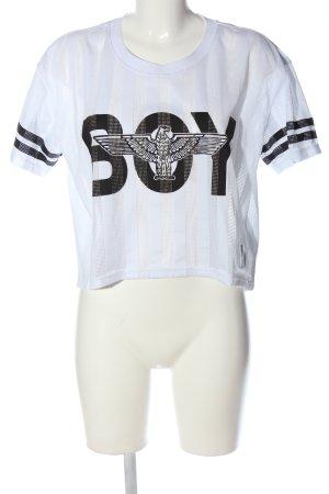BOY Cropped shirt wit-zwart prints met een thema casual uitstraling