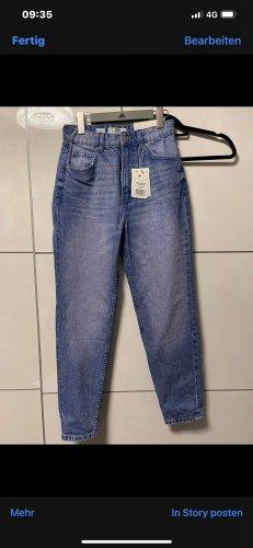 Bershka Boyfriend Trousers steel blue