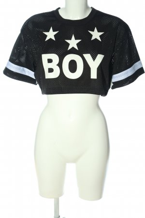 BOY LONDON Cropped top zwart-wit gedrukte letters casual uitstraling