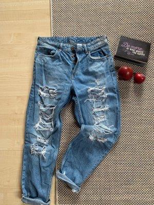 H&M Boyfriend Jeans pale blue-azure cotton