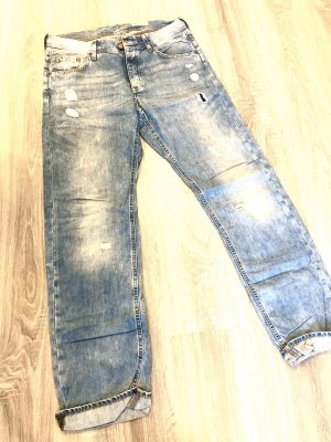 Pantalone boyfriend azzurro-blu fiordaliso