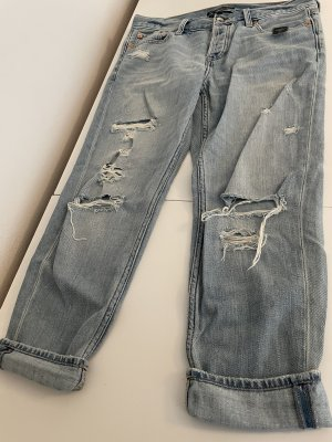 Abercrombie & Fitch Spodnie typu boyfriend błękitny