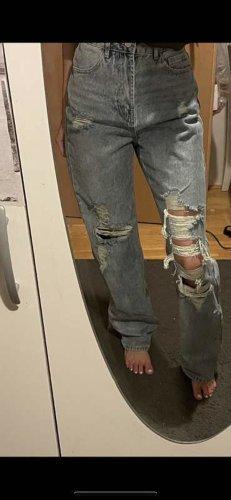 SheIn Spodnie typu boyfriend błękitny