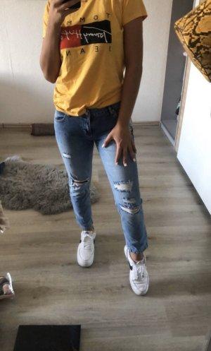 Jeans boyfriend bleu azur