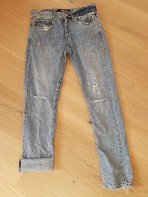 replay blue jeans Jeansy typu boyfriend błękitny Bawełna
