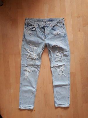 H&M Jeans boyfriend blanc-bleu azur