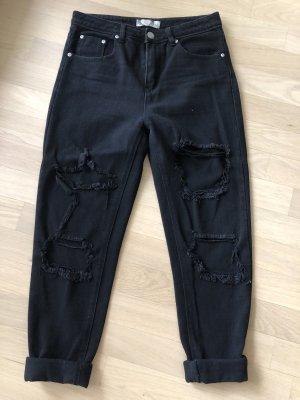 Bohoo Jeans boyfriend nero Cotone
