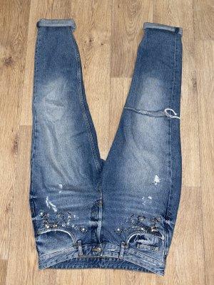 H&M Boyfriend Jeans cornflower blue-silver-colored