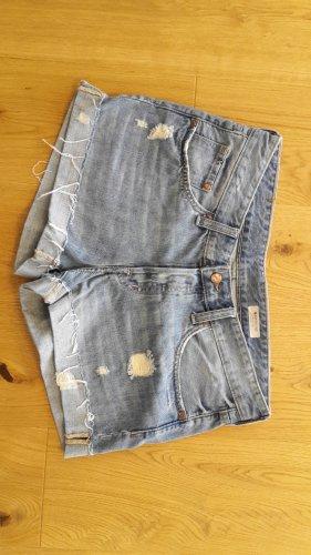 H&M Pantalón corto de tela vaquera azul celeste-azul aciano