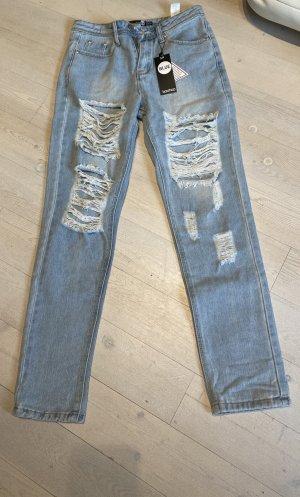 Bohoo Pantalon boyfriend bleu azur