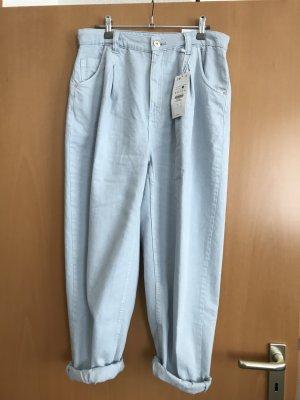 Bershka Boyfriend Trousers azure cotton
