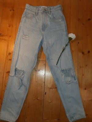 Zara Pantalone boyfriend grigio chiaro-azzurro
