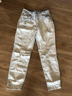 Boyfriendjeans in weiß mit cooler Waschung Größe 25/32