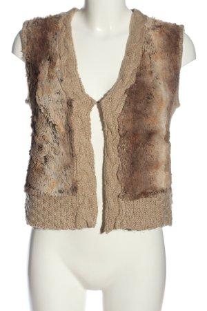 Boysen's Vest van imitatiebont bruin kabel steek casual uitstraling