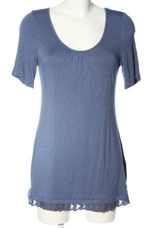 Boysen's Kurzarm-Bluse blau meliert Casual-Look