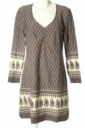 Boysen's Langarmkleid braun-creme grafisches Muster Casual-Look