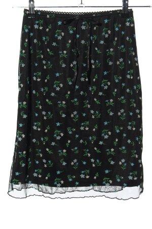 Boysen's Spódnica ze stretchu czarny-zielony Wzór w kwiaty W stylu casual